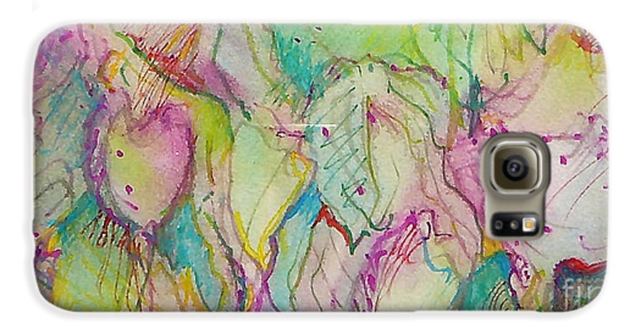 Abstract Galaxy S6 Case featuring the painting Two Lips by Jan Bennicoff