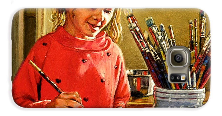 Young Girl Painting Galaxy S6 Case featuring the painting Young Artist by John Lautermilch