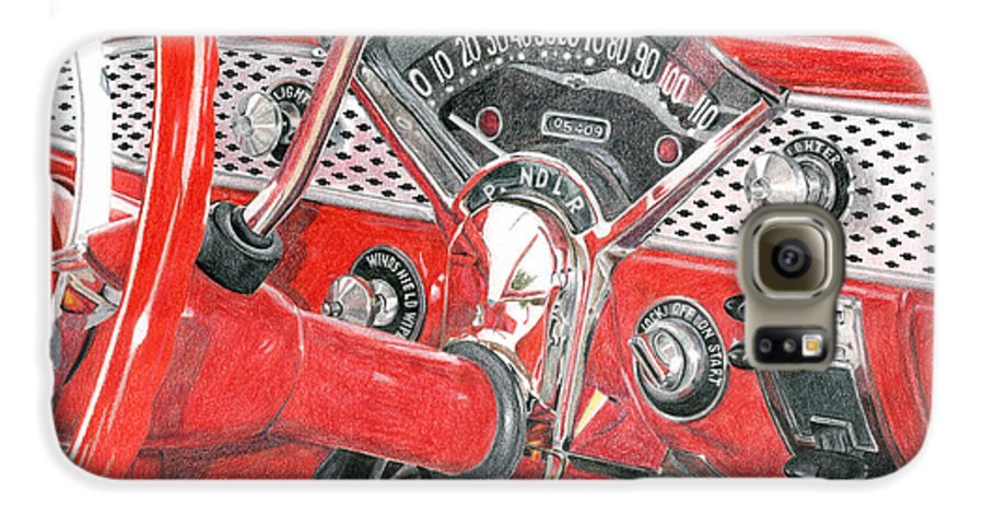 Classic Galaxy S6 Case featuring the drawing 1955 Chevrolet Bel Air by Rob De Vries