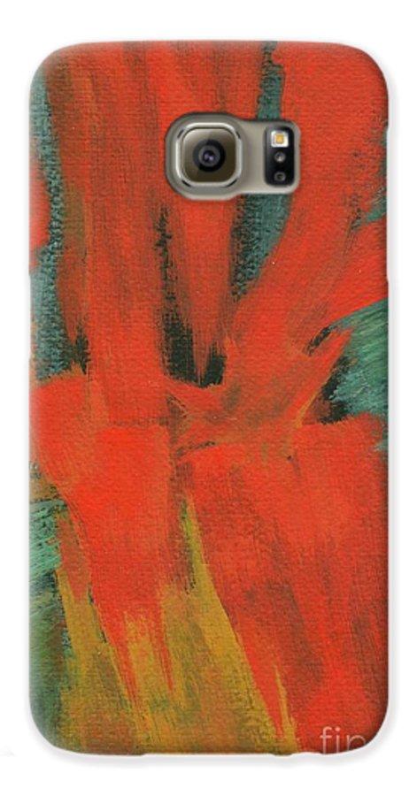 Abstract Galaxy S6 Case featuring the painting A Moment In Time by Itaya Lightbourne