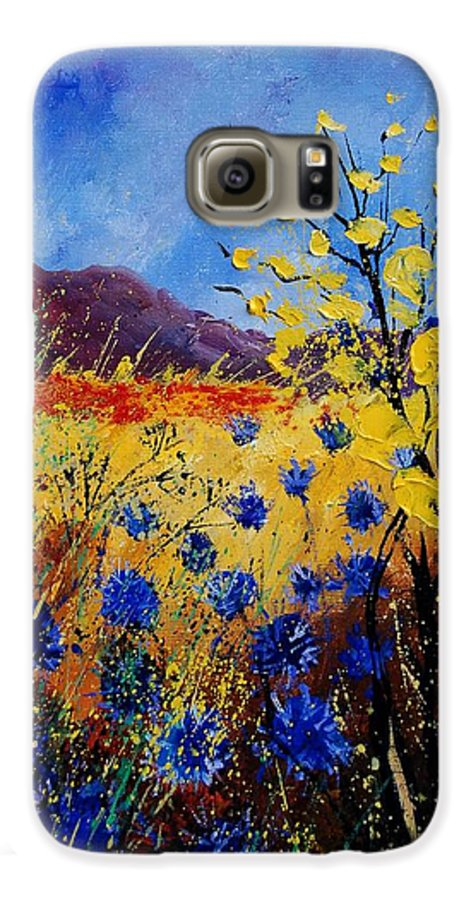 Poppies Flowers Floral Galaxy S6 Case featuring the painting Blue Cornflowers by Pol Ledent
