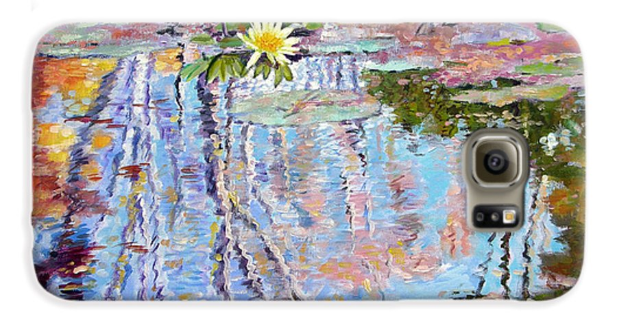 Garden Pond Galaxy S6 Case featuring the painting Fall Reflections by John Lautermilch