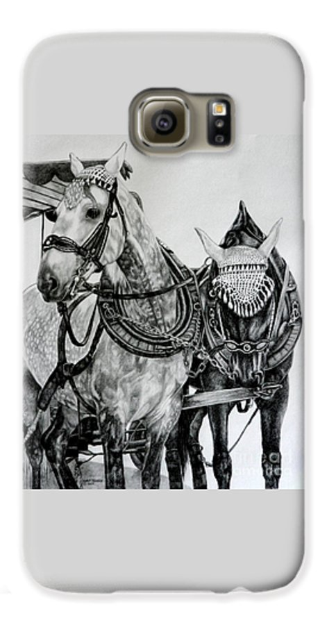 Horse Pencil Black White Germany Rothenburg Galaxy S6 Case featuring the drawing 2 Horses Of Rothenburg 2000usd by Karen Bowden