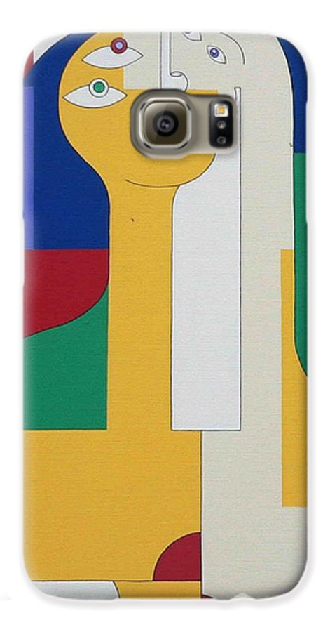 Modern Colors Women Humor Galaxy S6 Case featuring the painting 2 In 1 by Hildegarde Handsaeme