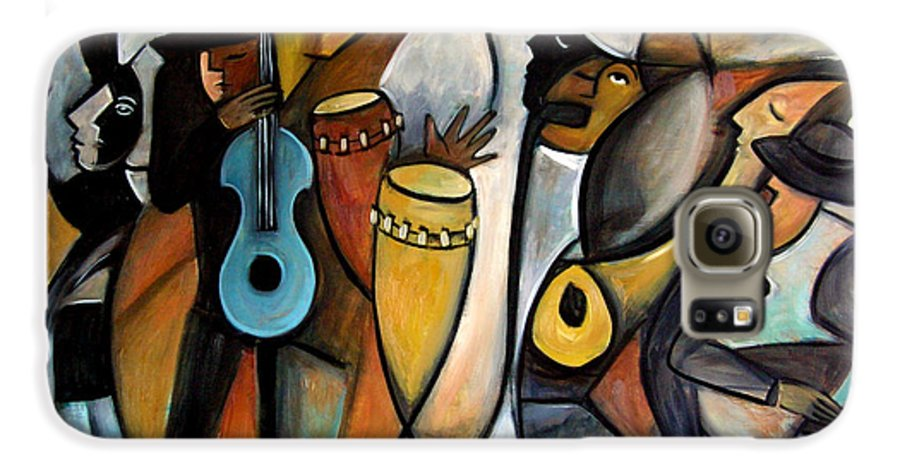 Latin Jazz Musicians Galaxy S6 Case featuring the painting Jazzz by Valerie Vescovi