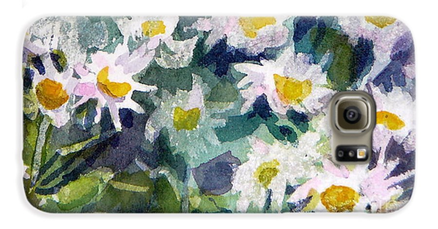 Flowers Galaxy S6 Case featuring the painting Little Asters by Jan Bennicoff