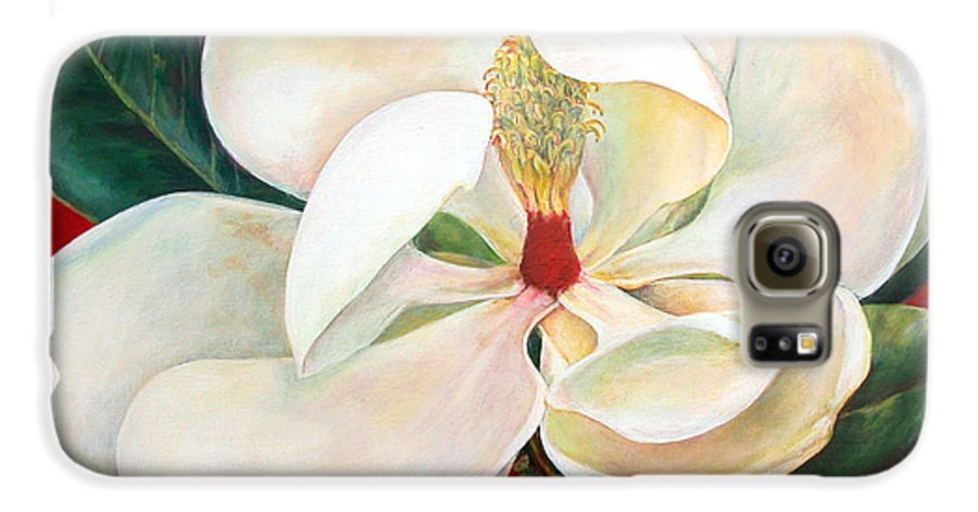 Floral Painting Galaxy S6 Case featuring the painting Magnolia by Muriel Dolemieux