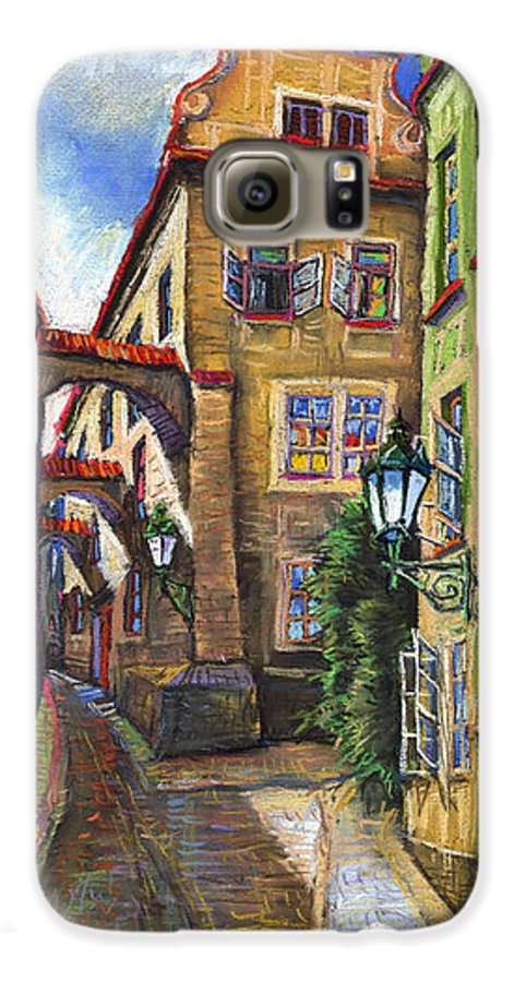 Prague Galaxy S6 Case featuring the painting Prague Old Street by Yuriy Shevchuk