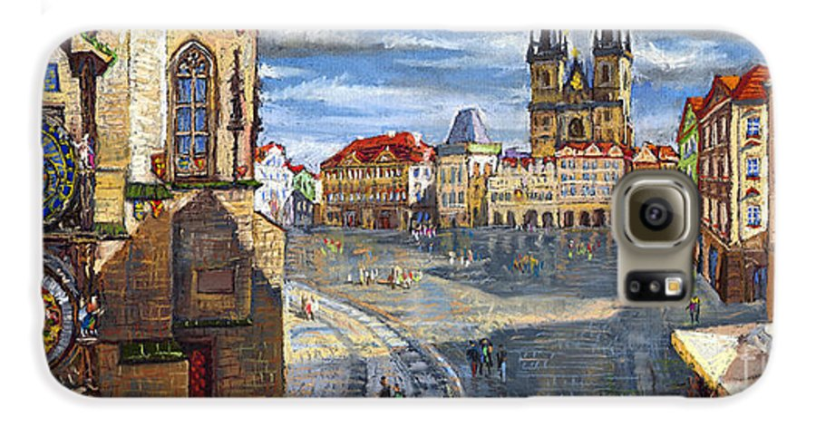 Pastel Galaxy S6 Case featuring the painting Prague Old Town Squere by Yuriy Shevchuk