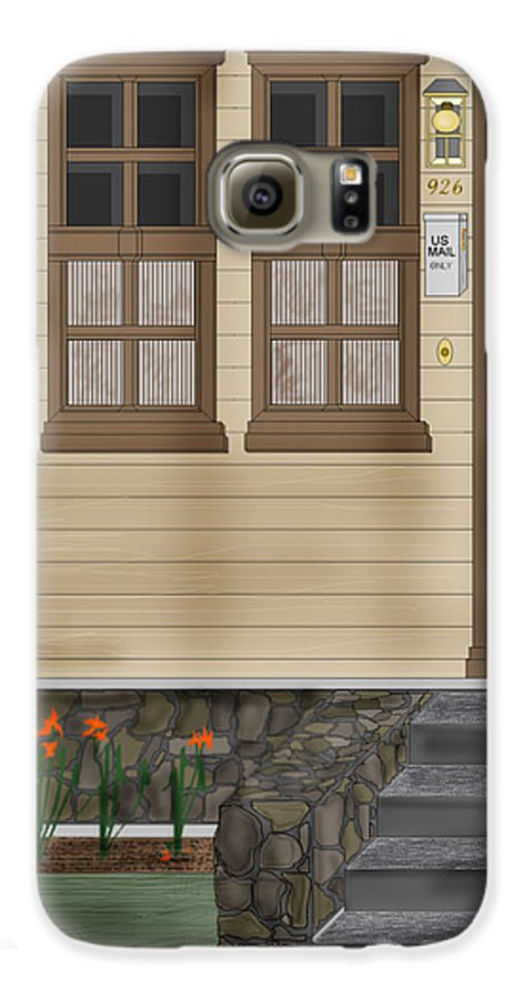 Townscape Galaxy S6 Case featuring the painting Rags On The Front Steps by Anne Norskog