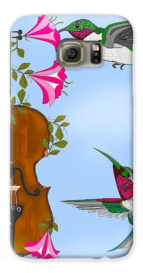 Fantasy Galaxy S6 Case featuring the painting Singing The Song Of Life by Anne Norskog