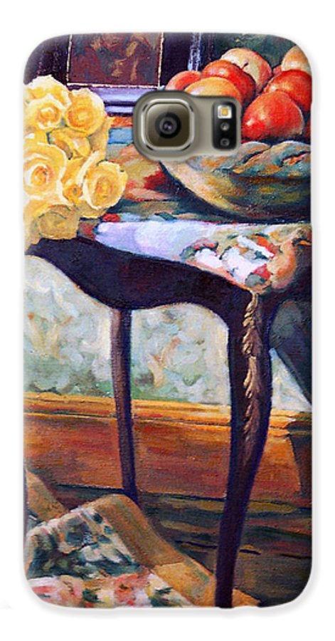 Still Life Galaxy S6 Case featuring the painting Still Life With Roses by Iliyan Bozhanov
