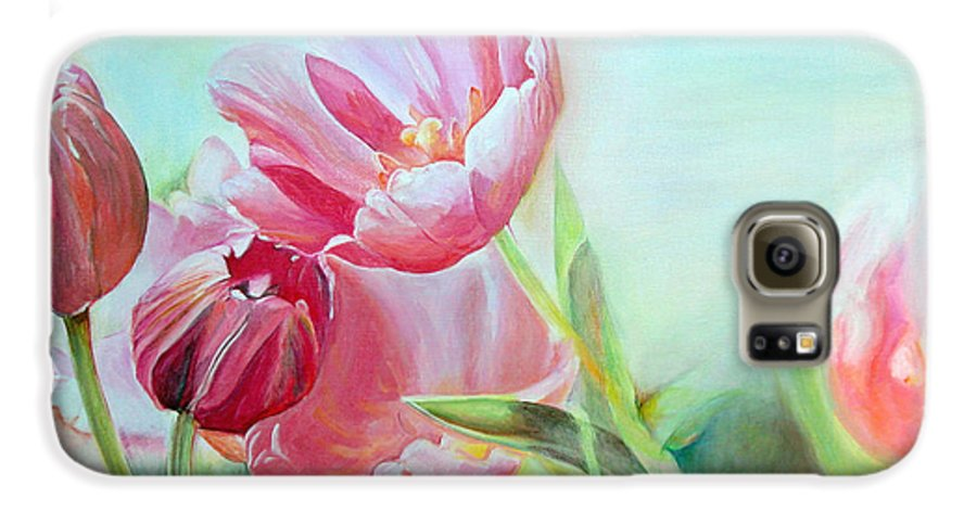 Floral Painting Galaxy S6 Case featuring the painting Tulipes by Muriel Dolemieux
