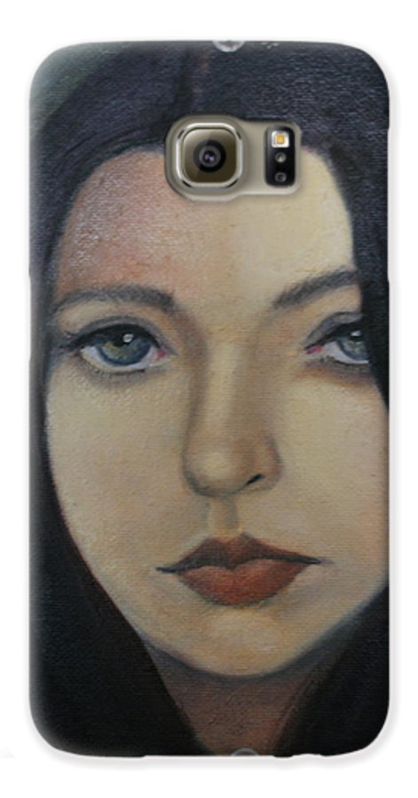 Girl Galaxy S6 Case featuring the painting That Stare by Toni Berry