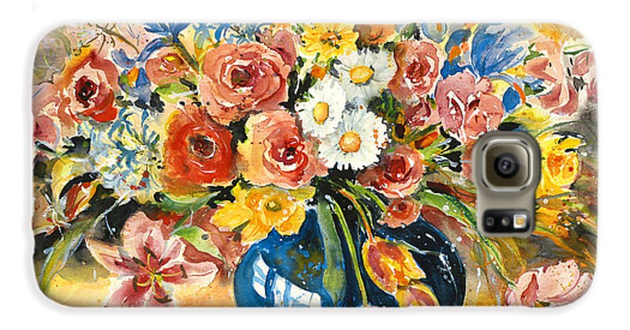 Still Life Galaxy S6 Case featuring the painting Blue Vase by Alexandra Maria Ethlyn Cheshire