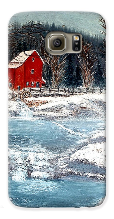 Landscape Mill Old Streem Creek Galaxy S6 Case featuring the painting Old Mill by Kenneth LePoidevin