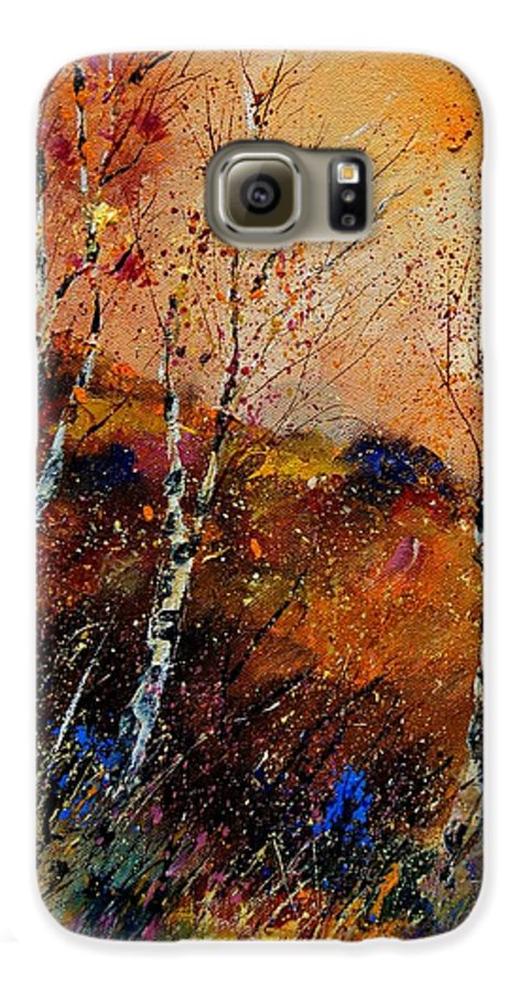 River Galaxy S6 Case featuring the painting 3 Poplars by Pol Ledent