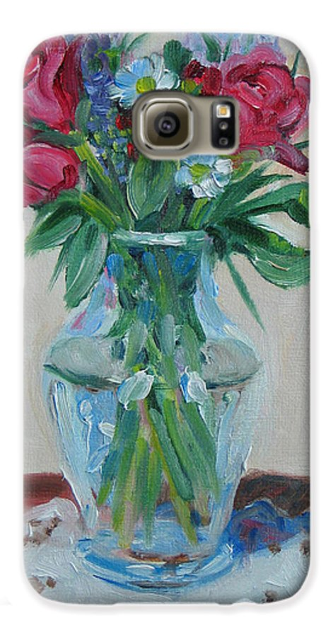 Roses Galaxy S6 Case featuring the painting 3 Roses by Paul Walsh