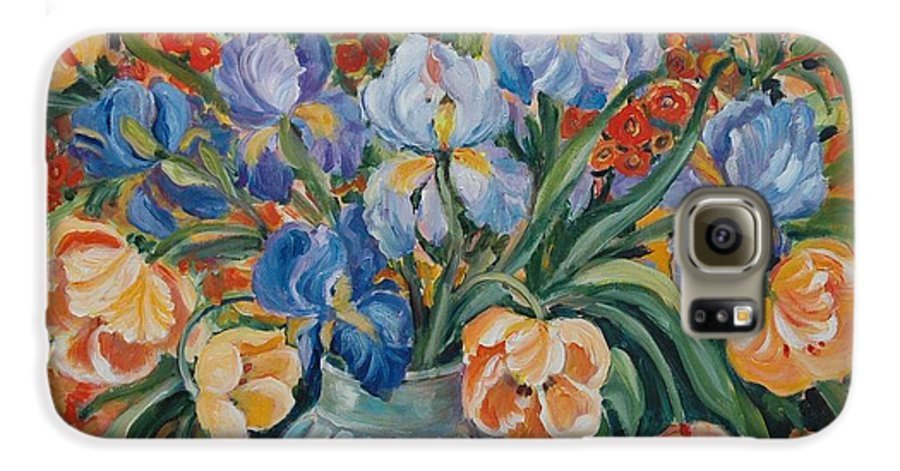 Still Life Galaxy S6 Case featuring the painting Tulips by Alexandra Maria Ethlyn Cheshire