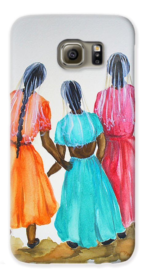 Three Ladies East Indian Galaxy S6 Case featuring the painting 3bff by Karin Dawn Kelshall- Best
