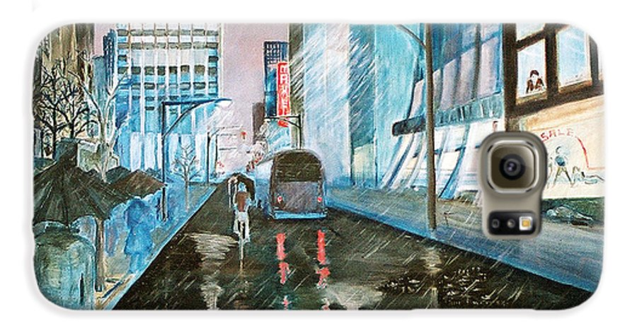 Street Scape Galaxy S6 Case featuring the painting 42nd Street Blue by Steve Karol