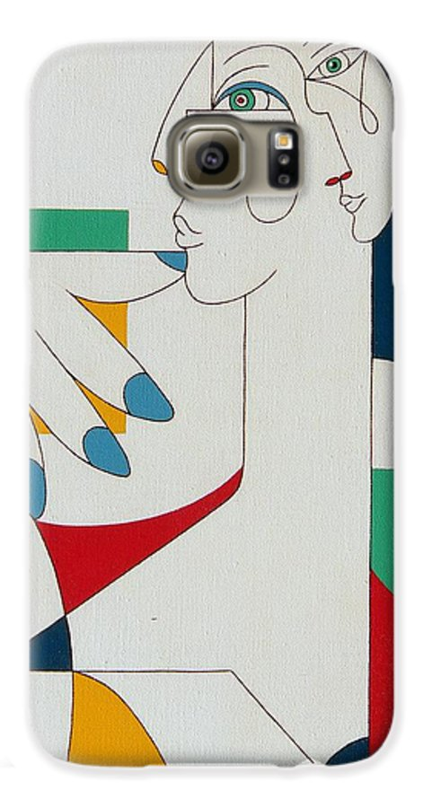 Portrait Galaxy S6 Case featuring the painting 5 Fingers by Hildegarde Handsaeme