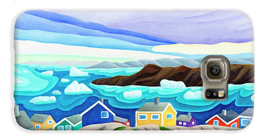 Arctic Landscape. Greenland Galaxy S6 Case featuring the painting 69 Degrees 13 Minutes North by Lynn Soehner