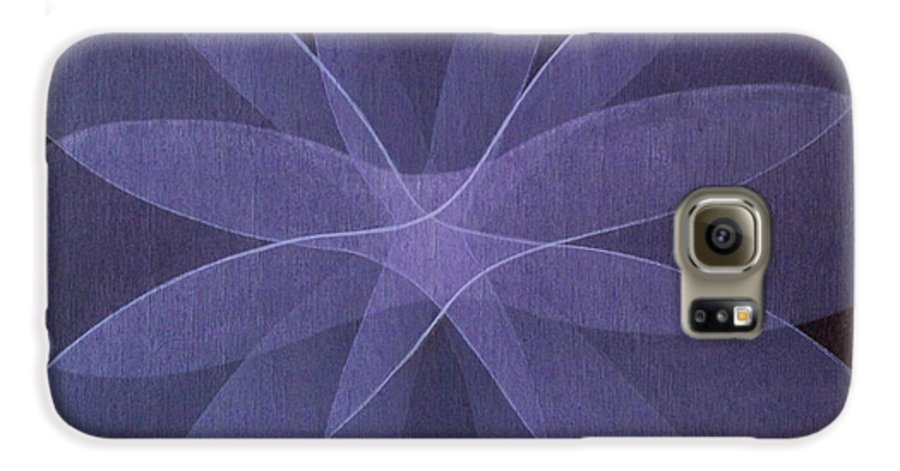 Abstract Galaxy S6 Case featuring the painting Abstract Flower by Jitka Anlaufova