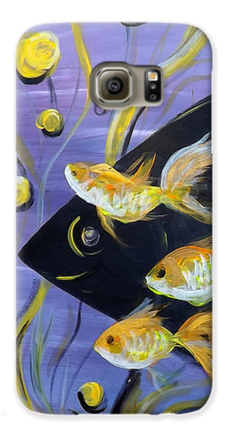 Fish Galaxy S6 Case featuring the painting 8 Gold Fish by Gina De Gorna