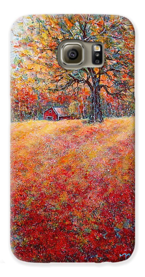 Autumn Landscape Galaxy S6 Case featuring the painting A Beautiful Autumn Day by Natalie Holland