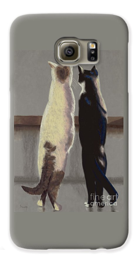 Cat Galaxy S6 Case featuring the painting A Bird by Linda Hiller