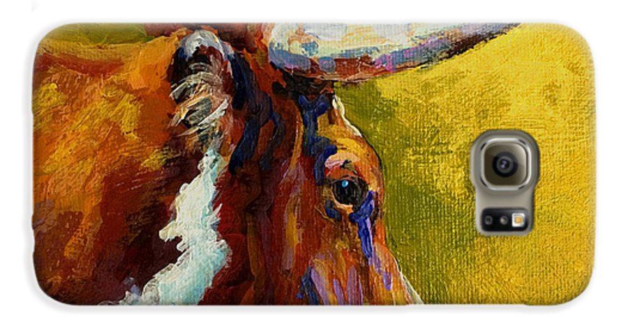 Western Galaxy S6 Case featuring the painting A Couple Of Pointers - Longhorn Steer by Marion Rose