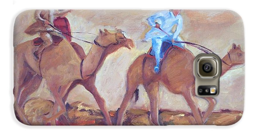 Figurative Galaxy S6 Case featuring the painting A Day At The Camel Races by Ginger Concepcion
