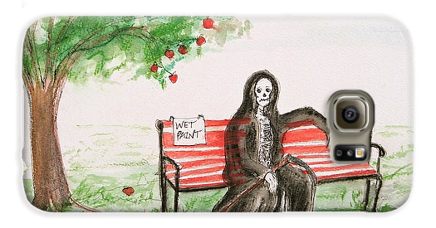 Darkestartist Day Death Holiday Humor Ink Off Paint Park Watercolor Watercolour Galaxy S6 Case featuring the painting A Day At The Park by Darkest Artist