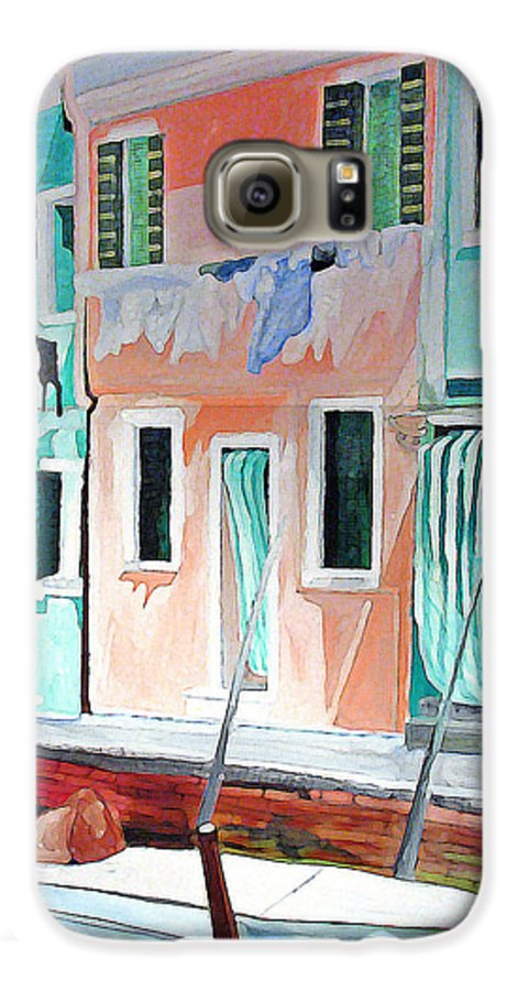 Italy Galaxy S6 Case featuring the painting A Day In Burrano by Patricia Arroyo