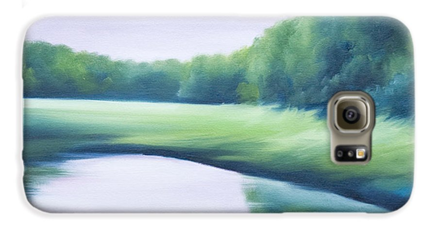 Nature; Lake; Sunset; Sunrise; Serene; Forest; Trees; Water; Ripples; Clearing; Lagoon; James Christopher Hill; Jameshillgallery.com; Foliage; Sky; Realism; Oils; Green; Tree; Blue; Pink; Pond; Lake Galaxy S6 Case featuring the painting A Day In The Life 1 by James Christopher Hill