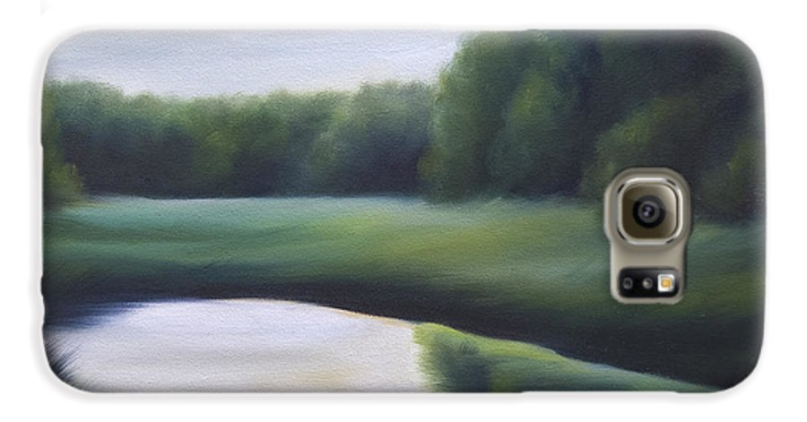 Nature; Lake; Sunset; Sunrise; Serene; Forest; Trees; Water; Ripples; Clearing; Lagoon; James Christopher Hill; Jameshillgallery.com; Foliage; Sky; Realism; Oils; Green; Tree Galaxy S6 Case featuring the painting A Day In The Life 3 by James Christopher Hill