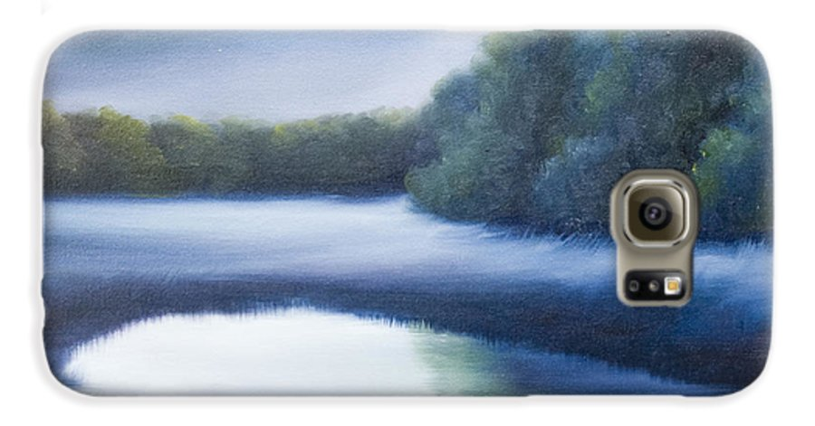 Nature; Lake; Sunset; Sunrise; Serene; Forest; Trees; Water; Ripples; Clearing; Lagoon; James Christopher Hill; Jameshillgallery.com; Foliage; Sky; Realism; Oils; Green; Tree; Blue; Pink; Pond; Lake Galaxy S6 Case featuring the painting A Day In The Life 4 by James Christopher Hill