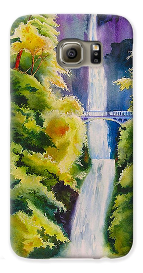 Waterfall Galaxy S6 Case featuring the painting A Favorite Place by Karen Stark