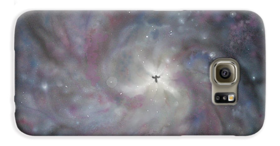 Space Galaxy S6 Case featuring the painting A Galaxy Centre by Mike Moss