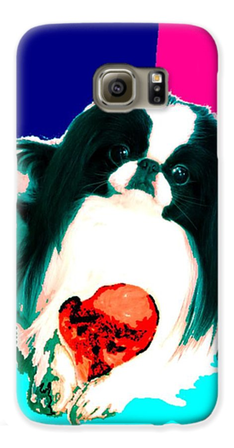 A Japanese Chin And His Toy Galaxy S6 Case featuring the digital art A Japanese Chin And His Toy by Kathleen Sepulveda