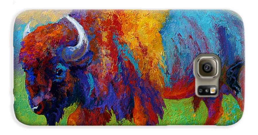Wildlife Galaxy S6 Case featuring the painting A Journey Still Unknown - Bison by Marion Rose