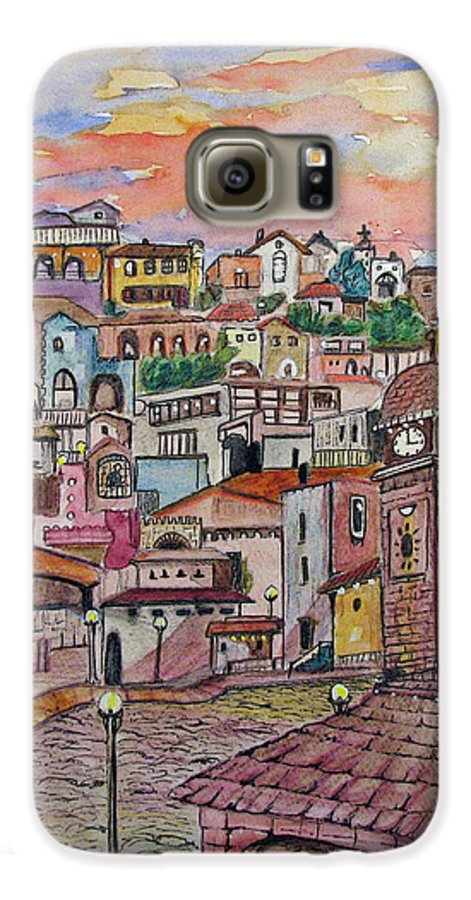 Townscape Galaxy S6 Case featuring the painting A Little Town In France by Patricia Arroyo