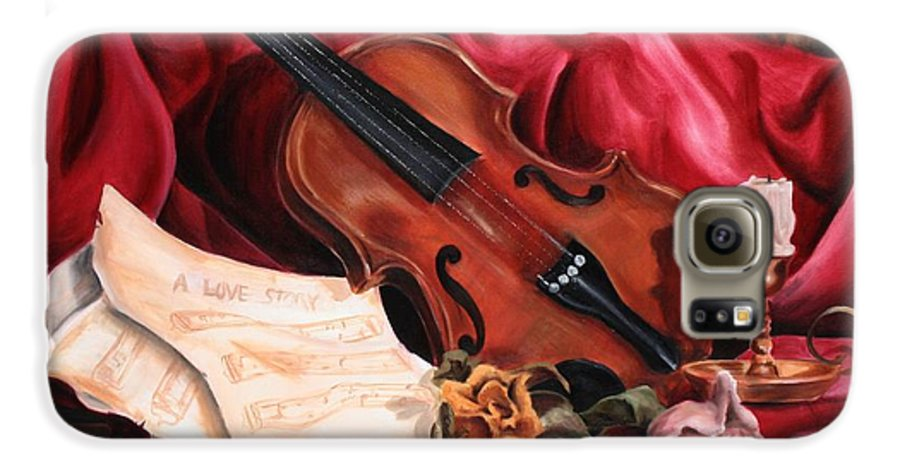 Violin Galaxy S6 Case featuring the painting A Love Story by Maryn Crawford