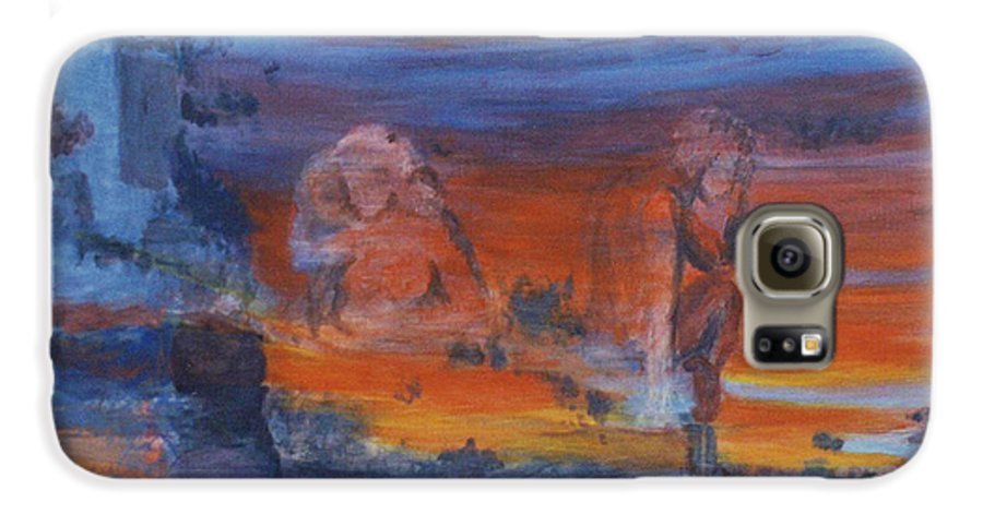 Abstract Galaxy S6 Case featuring the painting A Mystery Of Gods by Steve Karol