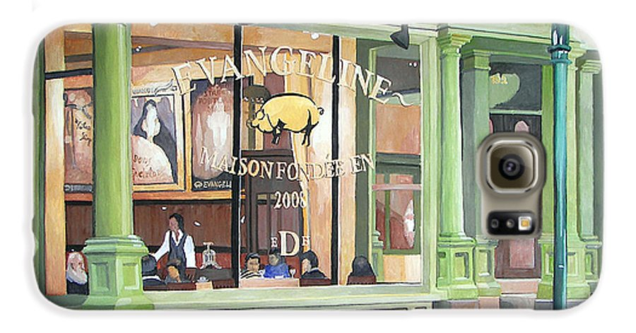 Restaurant Galaxy S6 Case featuring the painting A Night At Evangeline by Dominic White