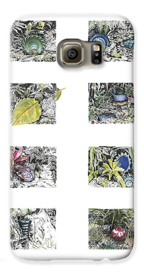 Tropical Galaxy S6 Case featuring the drawing A Potters Garden by Kerryn Madsen-Pietsch