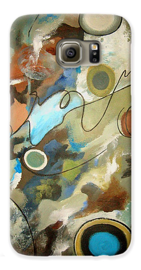 Abstract Galaxy S6 Case featuring the painting A Rolling Stone Gathers No Moss by Ruth Palmer