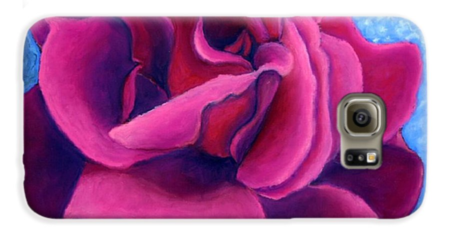 Rose. Pink Rose Galaxy S6 Case featuring the painting A Rose Is A Rose.. by Minaz Jantz