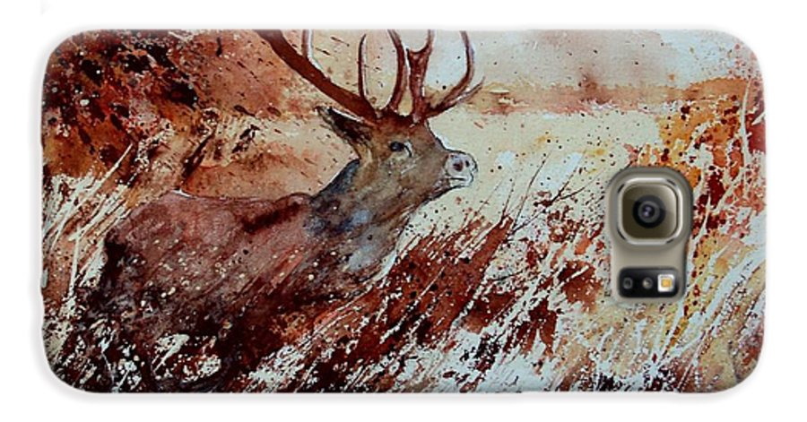 Animal Galaxy S6 Case featuring the painting A Stag by Pol Ledent
